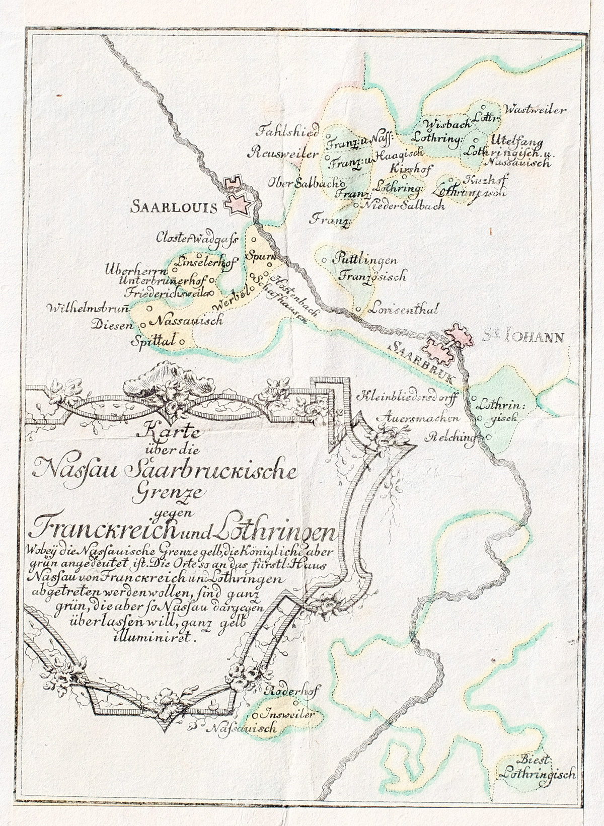 Lothringen Karte.Kupferstich Koloriert Karte Uber Die Nassau Saarbruckische