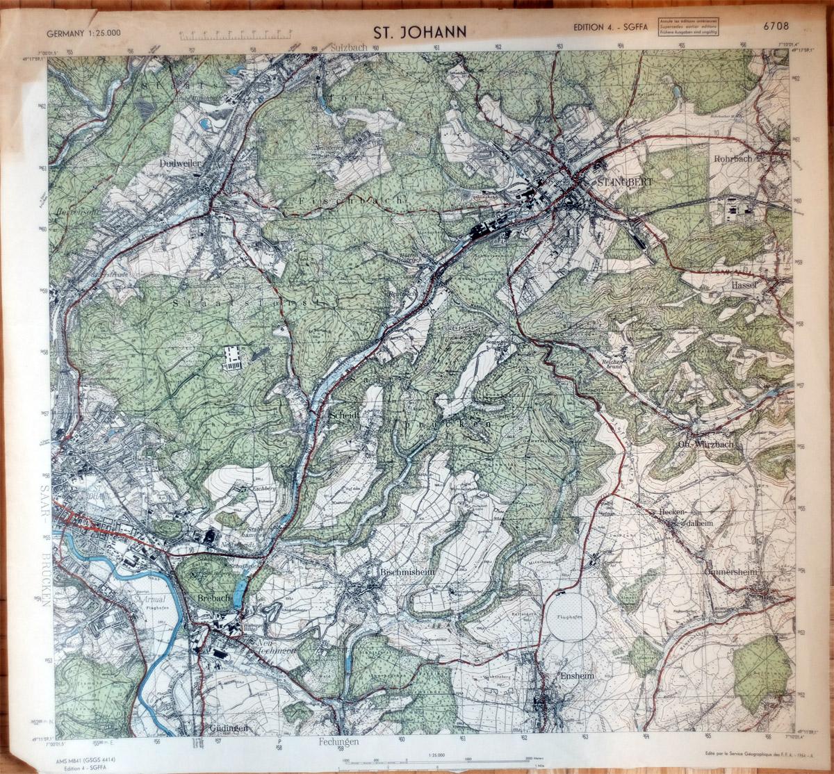 Alte Karte Deutschland 1940.Alte Landkarte Saarbrücken St Johann Und St Ingbert